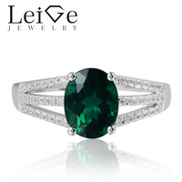 Leige Jewelry Lab Created Emerald Rings May Birthstone Oval Cut Engagement Rings Romantic Gifts For Woman 925 Sterling Silver