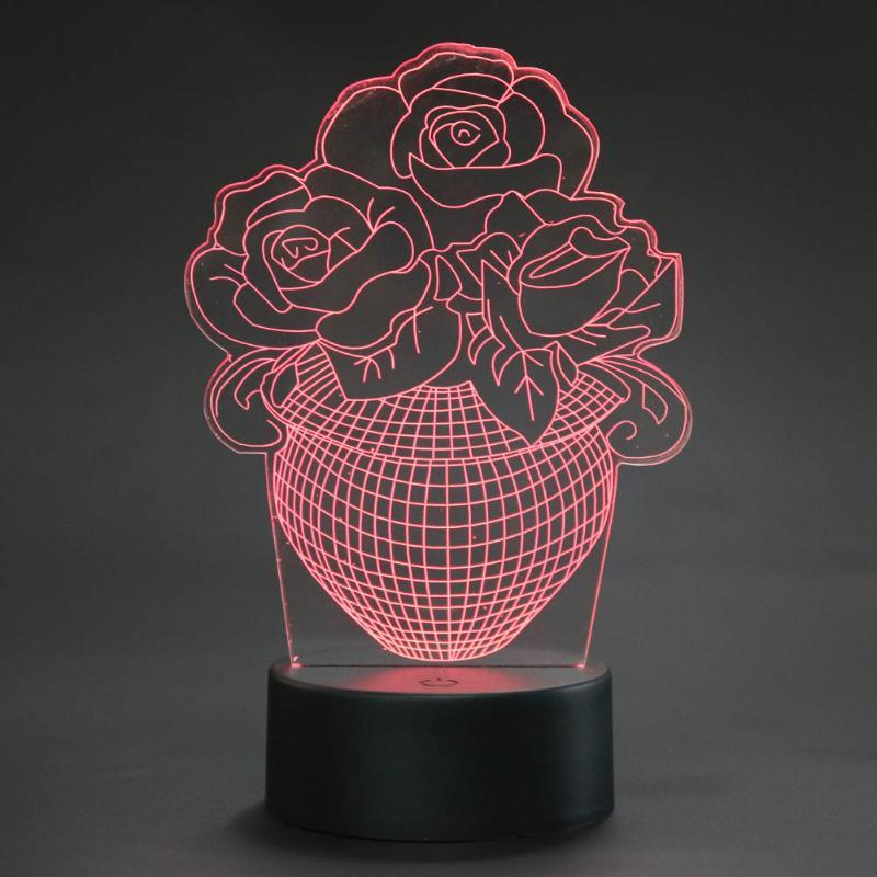 Романтическая роза 3D Ночь USB <font><b>LED</b></font> свет лампы акрил 7 цветов Изменение Главная Спальня партия Декор touch Освещение подарок blubing