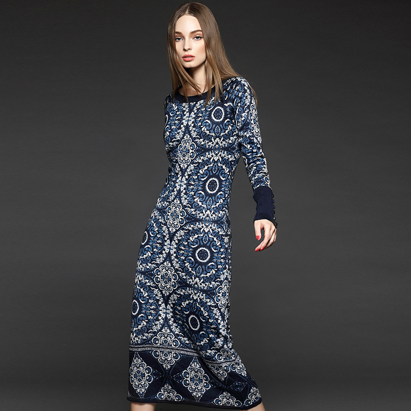 Iadoaixnal High qulity O-neck autumn and winter new knitted dress Full sleeve boutique women's Jacquard long maxi sweater dress