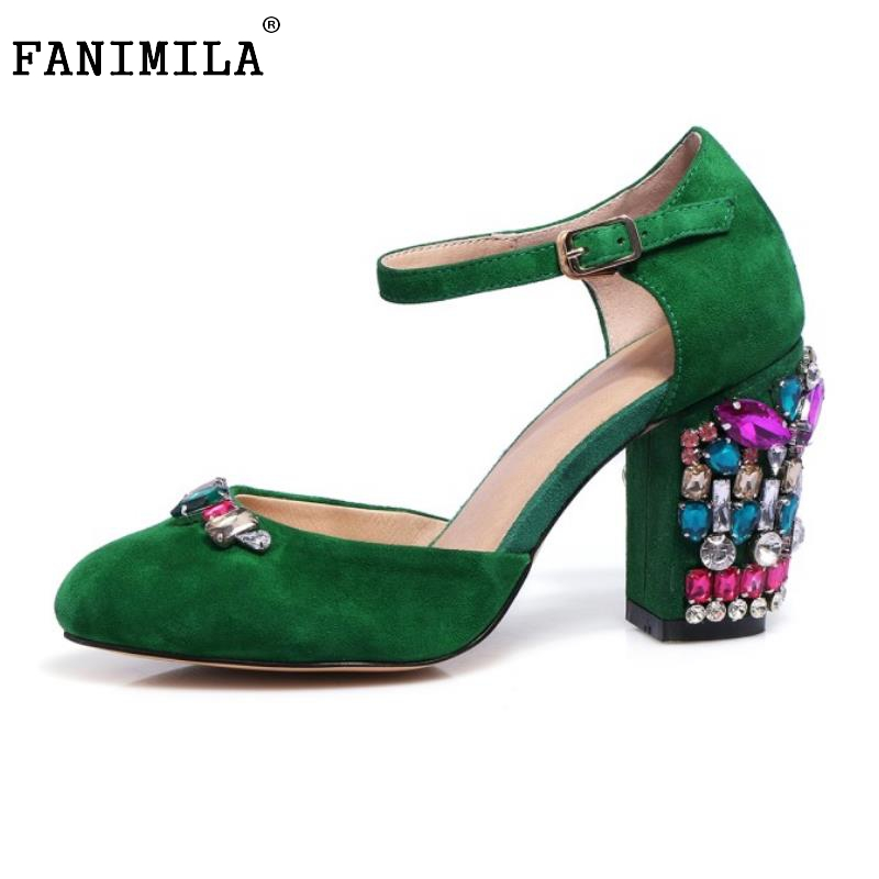 Size 34-43 Ladies Real Leather High Heels Pumps Round Toe Ankle Strap Rhinestone Thick High Heeled Pumps Sexy Flork Footwears ladies real leather high heels pumps pointed toe sexy thin high heeled shoes women shine wedding party footwears size 34 39