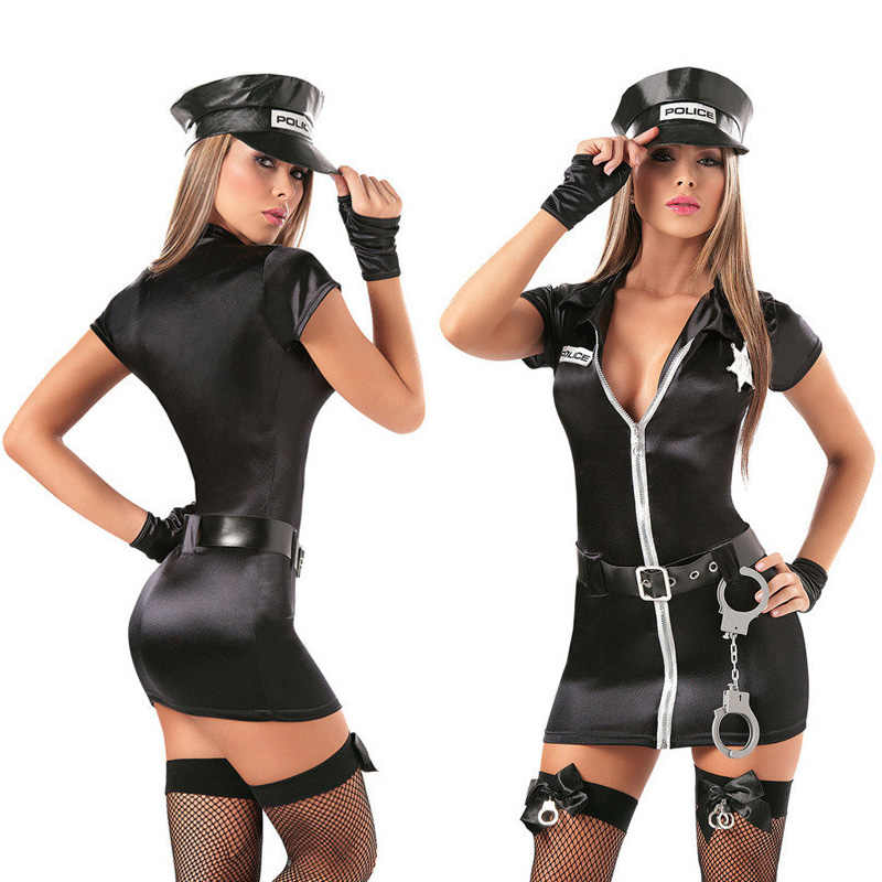 aba7960874429 Sexy Female Cop Officer Policewomen Outfit Black Zipper Satin Police Women  Sexy Cosplay Costume
