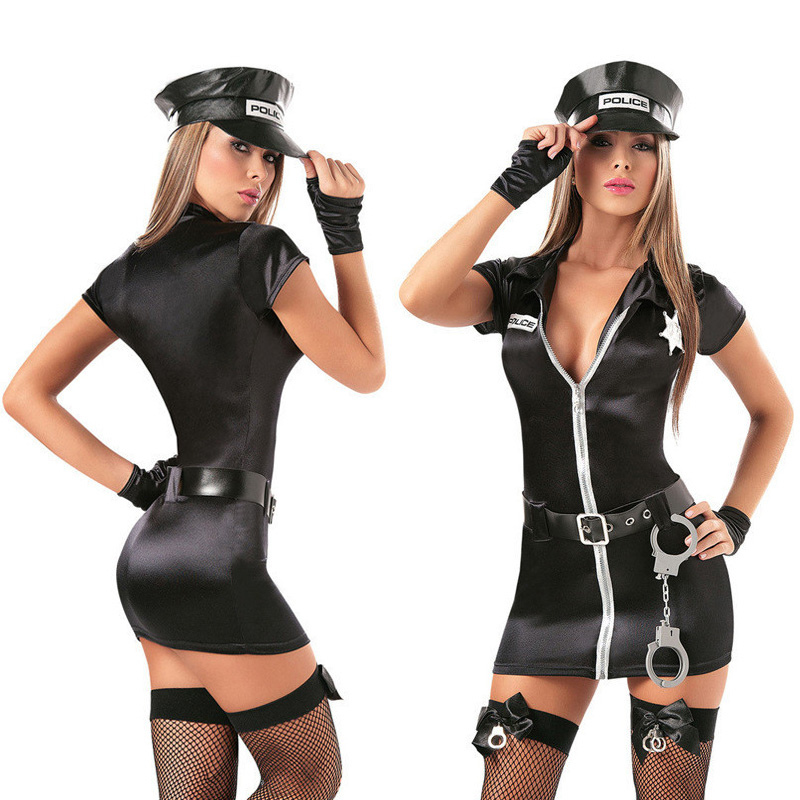 Sexy Female Cop Officer Policewomen Outfit Black Zipper Satin Police Women Sexy Cosplay Costume