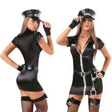 Sexy Weibliche Cop Offizier Polizistinnen Outfit Schwarz Zipper Satin Polizei Frauen Sexy Cosplay Kostüm