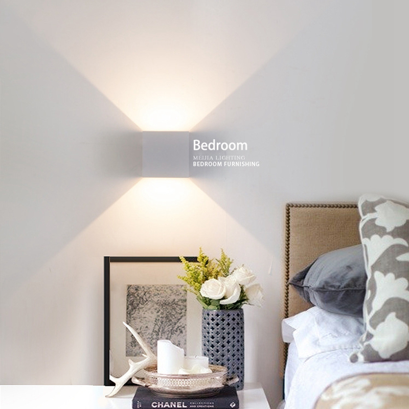 6W lampada LED Aluminium wall light rail project Square LED wall lamp bedside room bedroom wall lamps arts