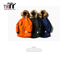 THYY Mid Long Men's Parkas Casual Outsport Coat Loose C Jacket Hooded Fur Collar Detachable Orange Black Blue Rib Sleeve