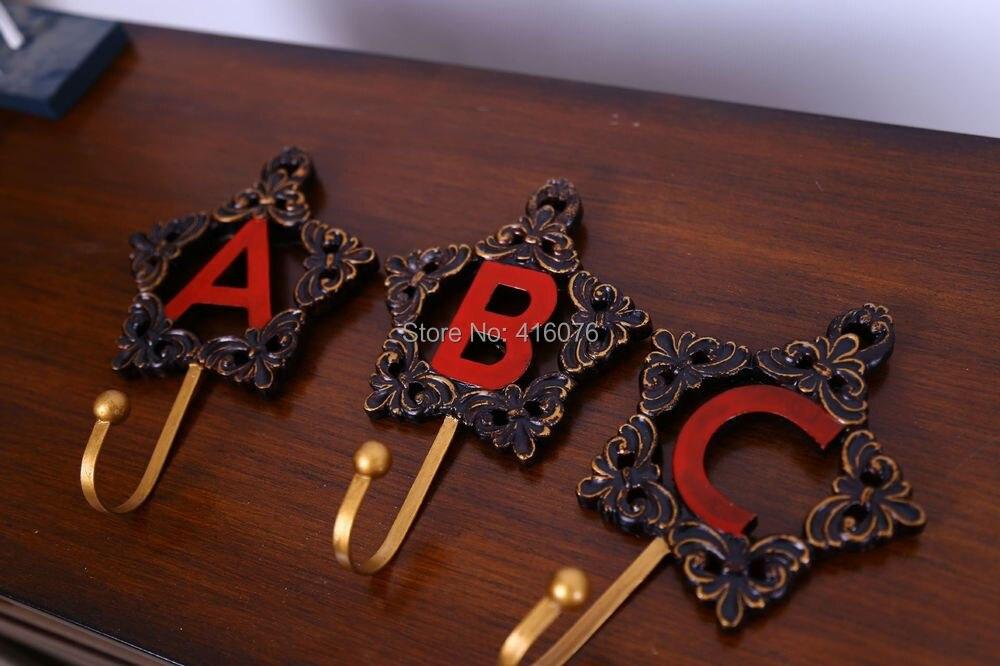 Новинка! 3 шт./лот сверхмощный Винтажный стиль A B C письмо декоративные резиновые стены металлический карабин пальто и шляпа настенная вешалка домашнее украшение