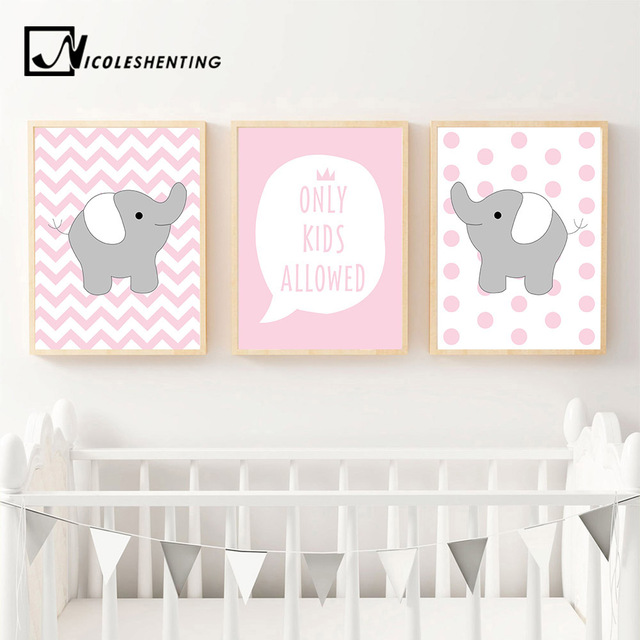 Pink Ripple Elephant Animal Wall Art Canvas Poster Cute Cartoon Nursery Quote Print Painting Picture Nordic