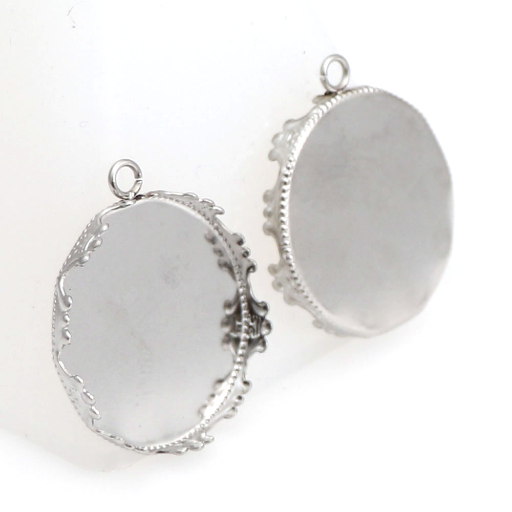 10 Pcs 20mm 25mm Silver Crown Hanging Hole Blank Bezel Charms Pendant Round Trays Base Setting Cameo Cabochon