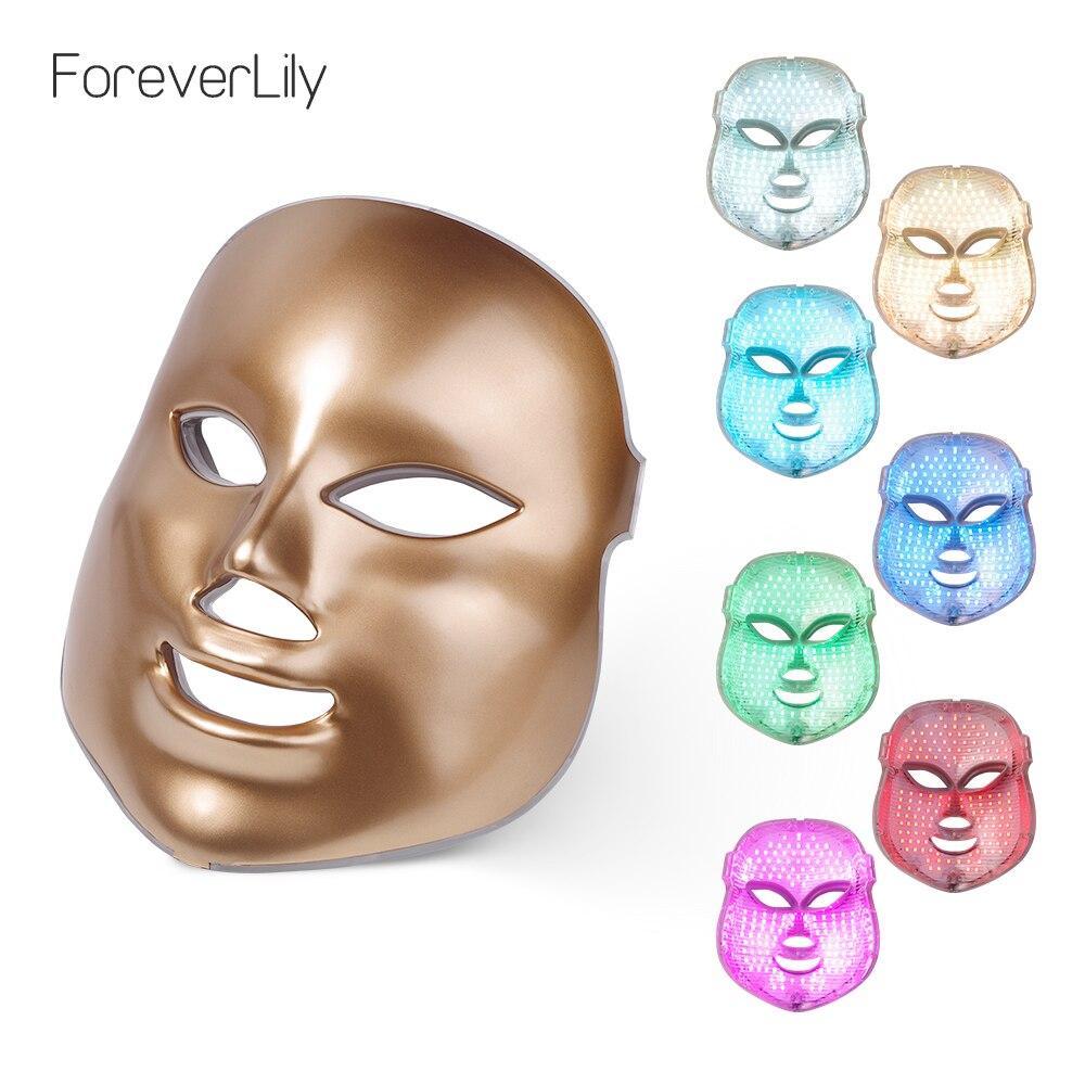 Foreverlсветодио дный ily led маска для лица 7 цветов свет фотон затянуть поры омоложение кожи анти акне удаления морщин терапии красота салон