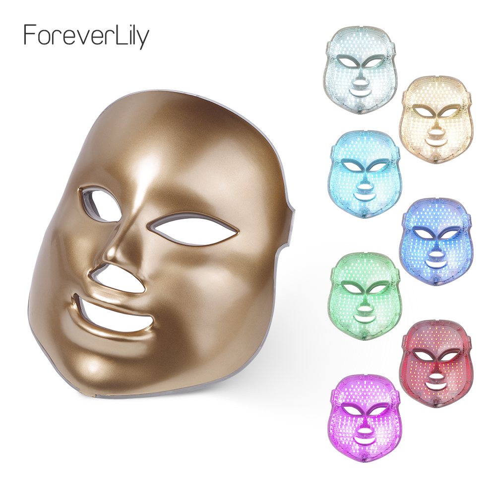 Foreverlily LED Facial Mask 7 Color Light Photon Tighten Pores Skin Rejuvenation Anti Acne Wrinkle Removal Therapy Beauty Salon