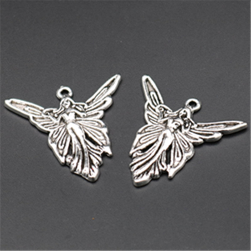 6pcs Antique silver butterfly fairy charm necklace earrings DIY fashion jewelery handmade alloy pendants A643