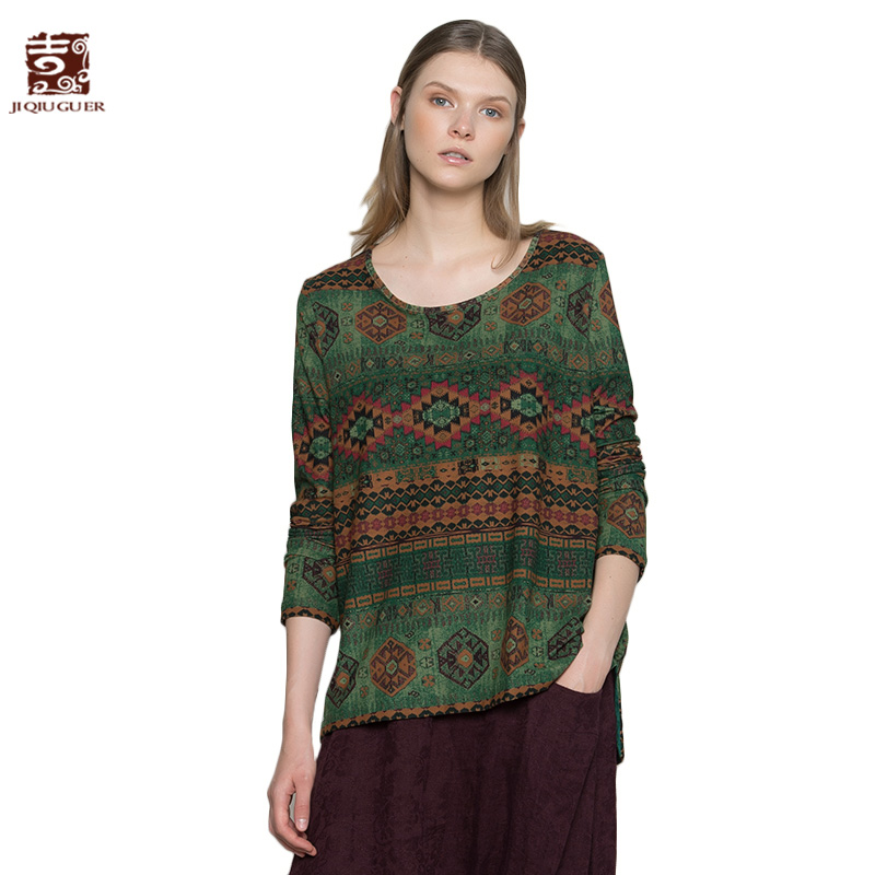 Jiqiuguer Women Geometric Print Blouses shirts Vintage Plus Size O-neck Asymmetric Loose Casual Autumn Pullover Tops G173Y023