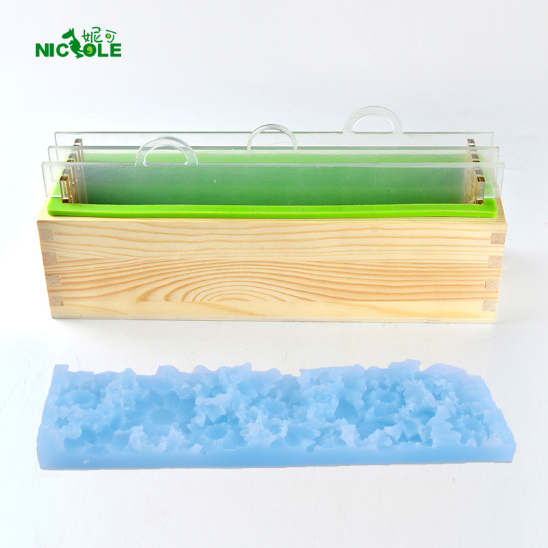 Nicole Silicone Mold Set Handmade Render Loaf Soap Mould With Transparent Vertical Acrylic Clapboard & Flower Mat