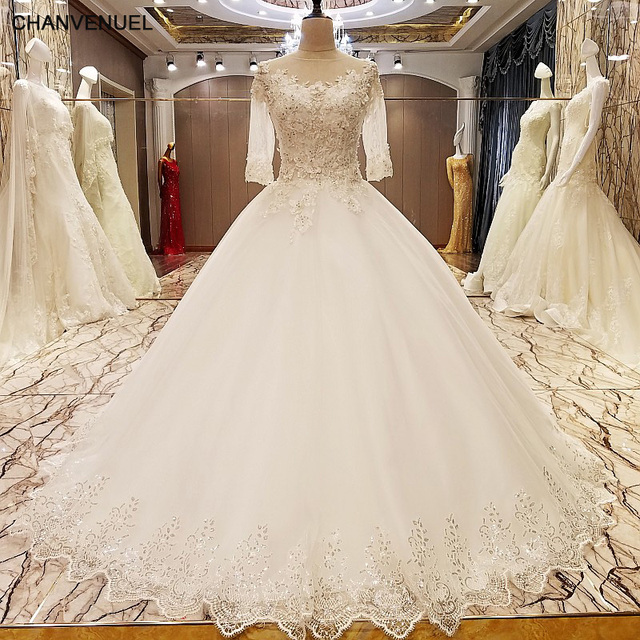 Ls89054 Elegant Lace Wedding Dress Ball Gown Crystal Gowns With Long Tail Robe De Mariage