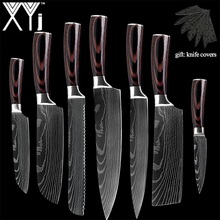 XYj New Arrival 2019 Kitchen Cooking Stainless Steel Knives Tool Fruit Utility Santoku Chef Slicer Damascus Veins Kitchen Knives