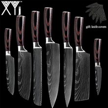 XYj New Arrival 2019 Kitchen Cooking Stainless Steel Knives Tool Fruit Utility Santoku Chef Slicer Damascus Veins Kitchen Knives(China)