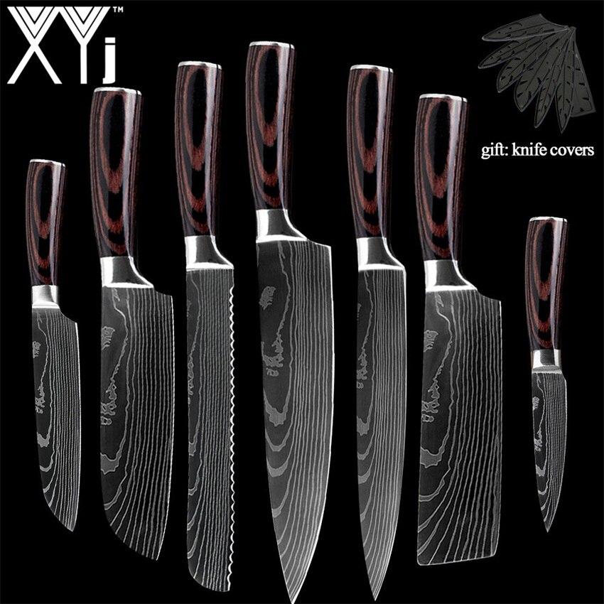 XYJ חדש הגעה 2019 מטבח בישול נירוסטה סכינים כלי פירות פירות Santoku השף Slicer דמשק Veins סכיני מטבח