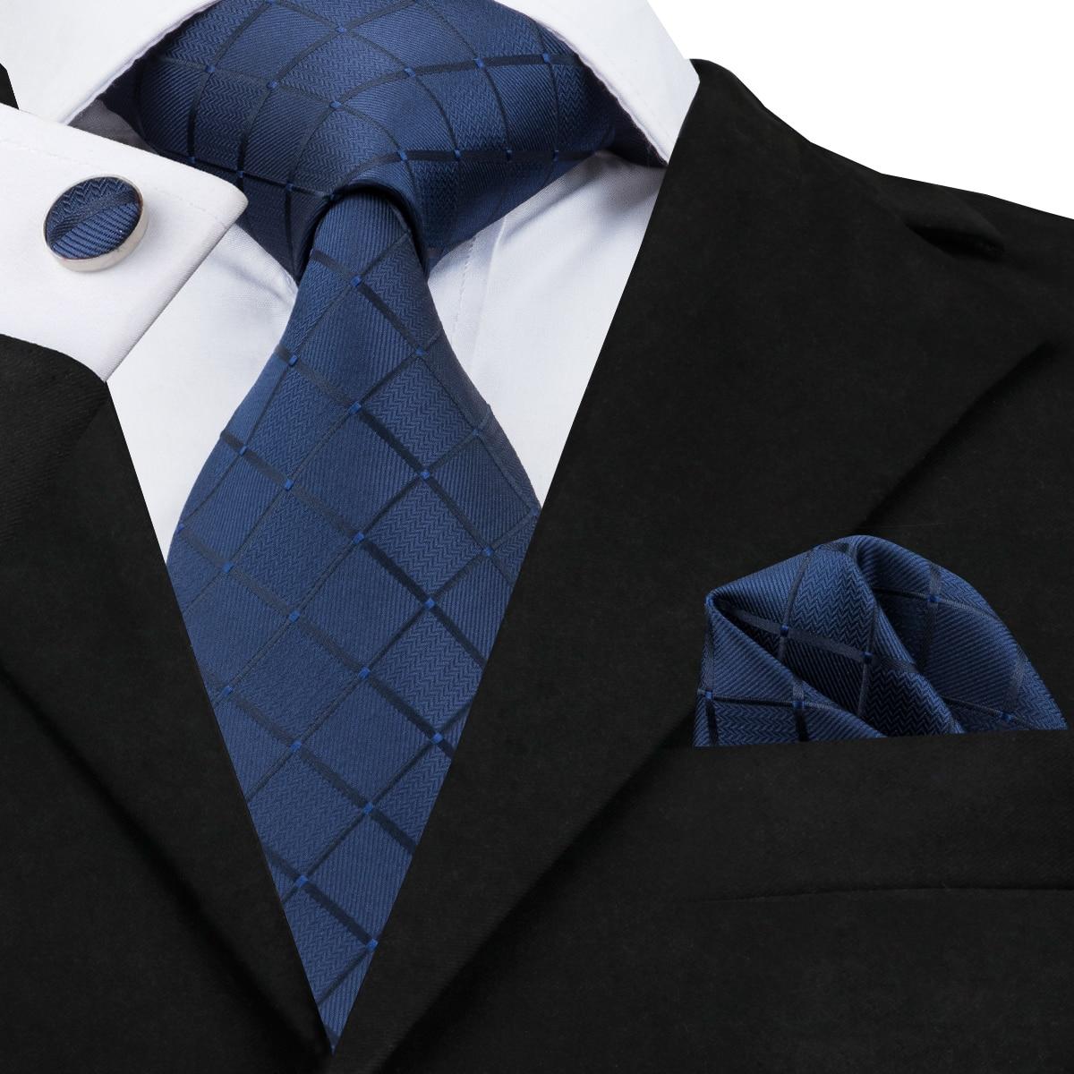Hi-Tie Hot Blue Silk Tie Plaid Jacquare Woven Ties For Men Necktie And Pocket Square Cufflink Blue Men Tie Set Cravats SN-1656