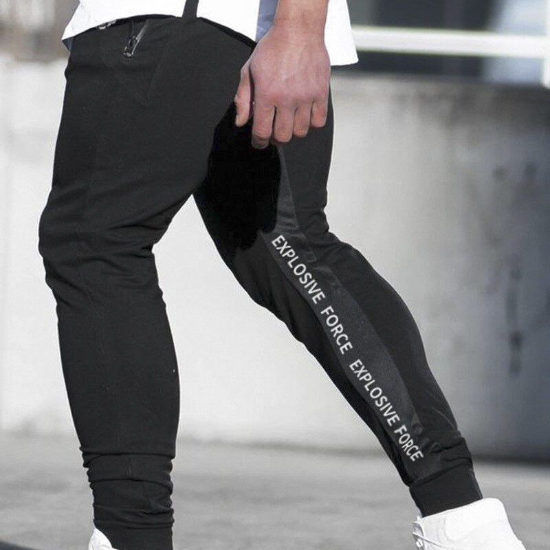 Tracksuit Bottoms Trousers Sportswear Joggers Skinny Sweatpants Fitness Black Male Gyms
