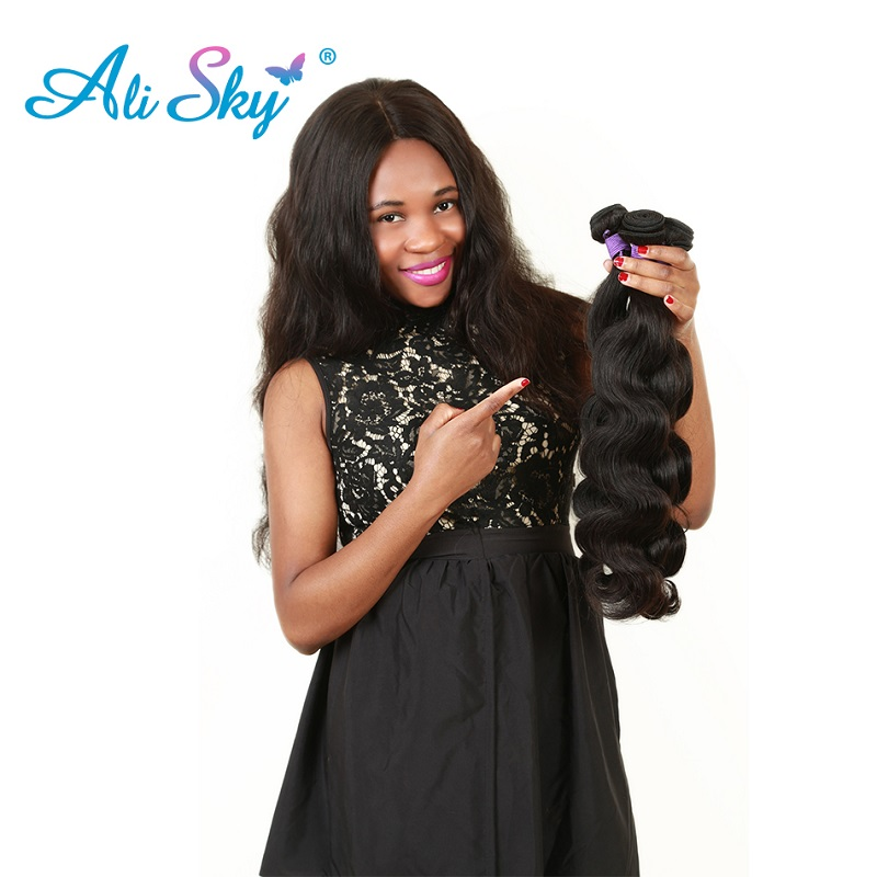 Brazilian Body Wave 3pcs Hair Bundles Deal with 4x4 Lace closure 100% - Cabello humano (negro) - foto 3