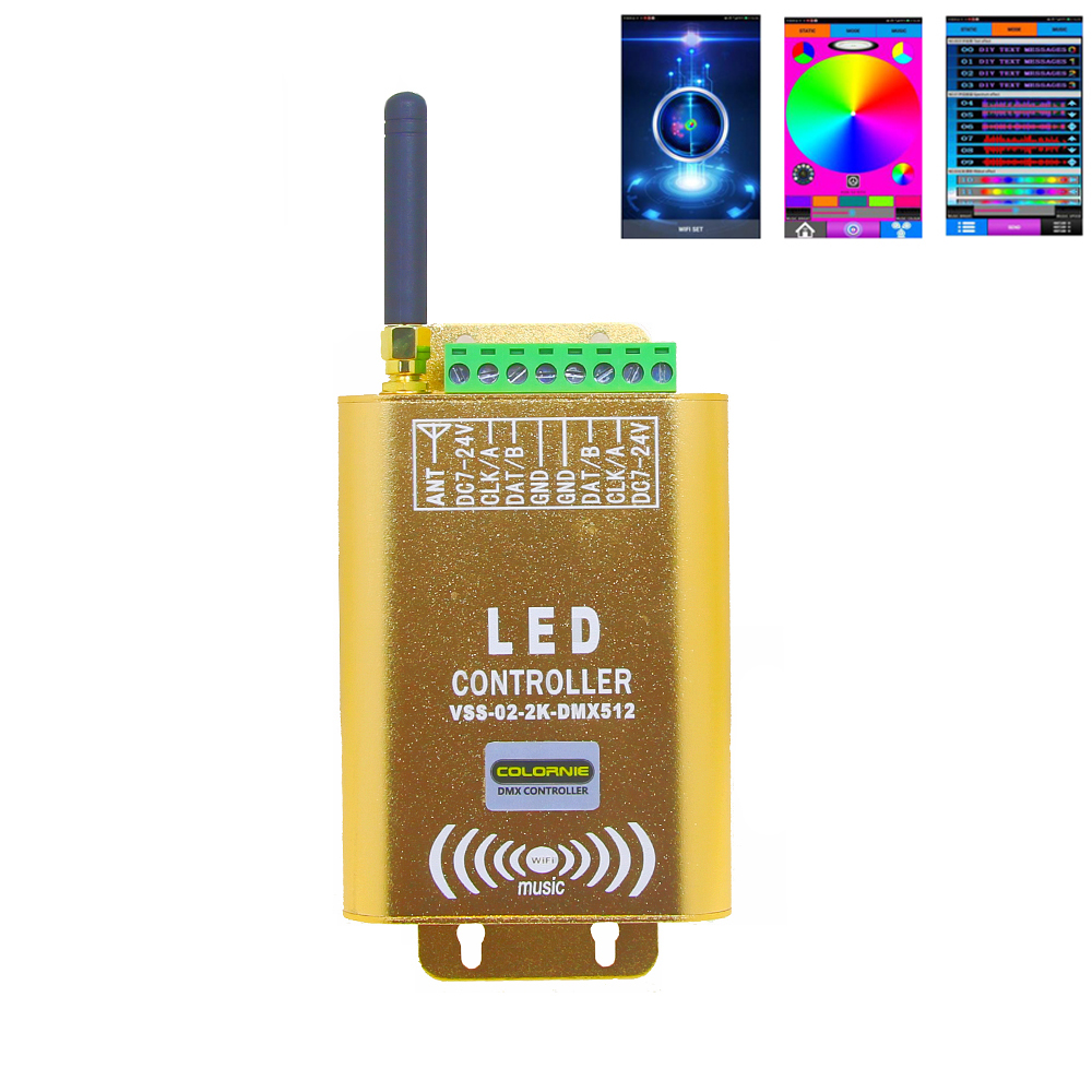 RGB DMX Wifi Music LED Controller IC 2048 pixel*2CH Output Support IC WS2811 1903 16703 TM1812 WS2812B WS2813 et. for led strip микросхема cm2801b led ic