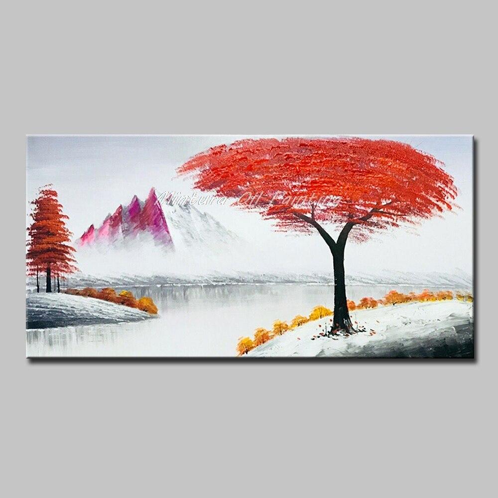 Mintura peintures à l'huile photos murales pour salon fleurs qui poussent sur les arbres Art peint à la main plantes modernes dessiner pas encadré - 5