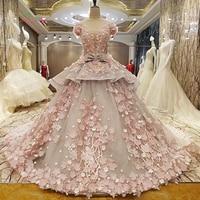 Dream Angel Vestido De Noiva Short Sleeve Lace Wedding Dress 2017 Embroidery Flowers Chapel Train A