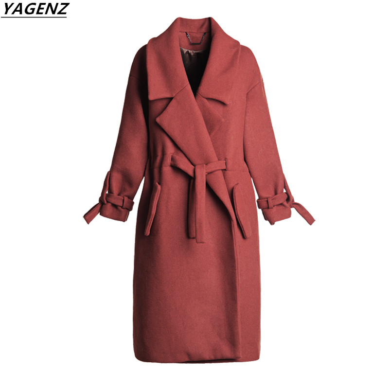 style Tan Hiver Spliced light Slim À Femmes Red Confortable 2017 Survêtement De A123 black Cocon Section Manches Longues Mode Laine Yagenz Manteau Longue YBgdq