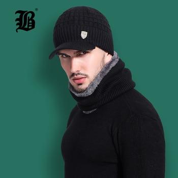 Flb Skullies шапочки для мужчин шарф вязаная шапка мужской плюс