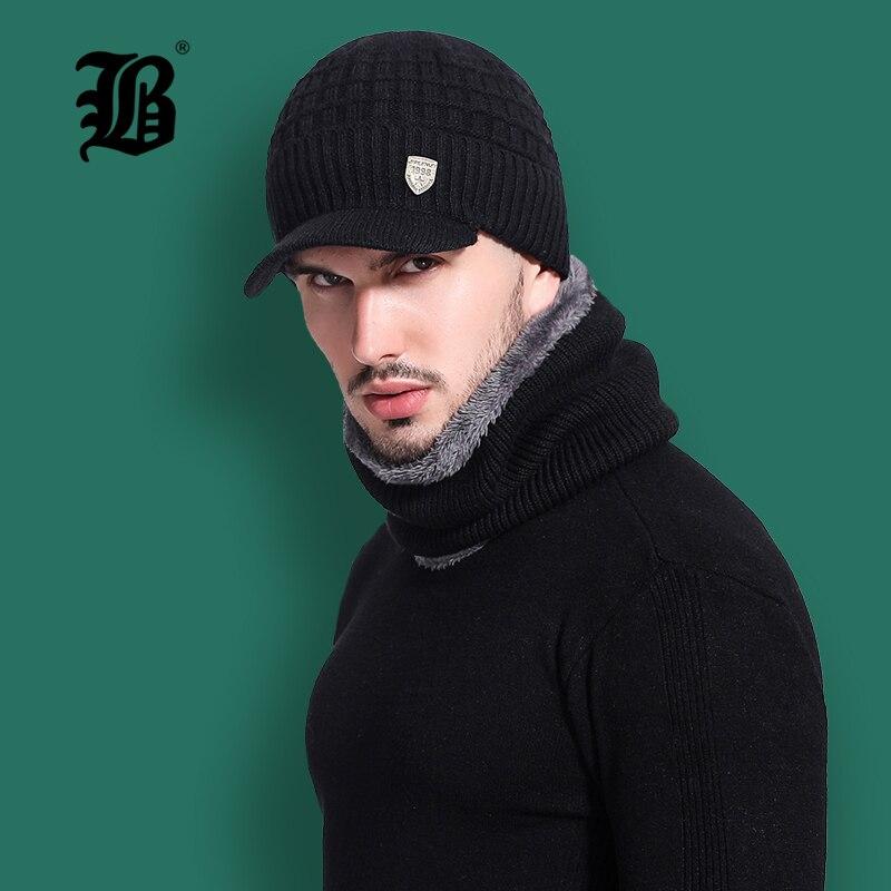 [FLB] Skullies Beanies Men Scarf Knitted Hat Cap Male Plus Gorras Bonnet Warm Wool Thick Winter Hats For Men Women Beanie F18041