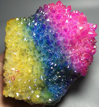 816g More color Aura Quartz Crystal Titanium Bismuth Silicon Cluster Rainbow wedding souvenirs