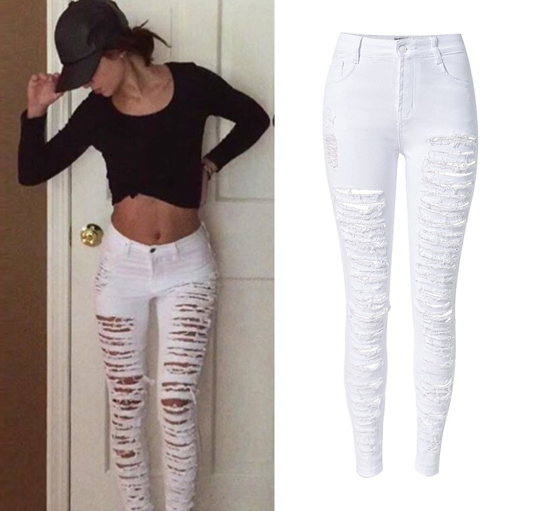 amazing selection top-rated real moderate price US $21.69 8% OFF|Fashion Army Green/Black/White Sexy Ripped Jeans Women  Plus Size Distressed High Waist Jeans Ladies Skinny Jean Taille Haute-in  Jeans ...