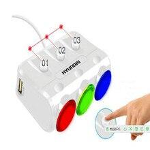 цена на Multi-function 12v car cigarette lighter socket splitter 12v car socket car cigarette lighter plug adapter 3 hole+2usb