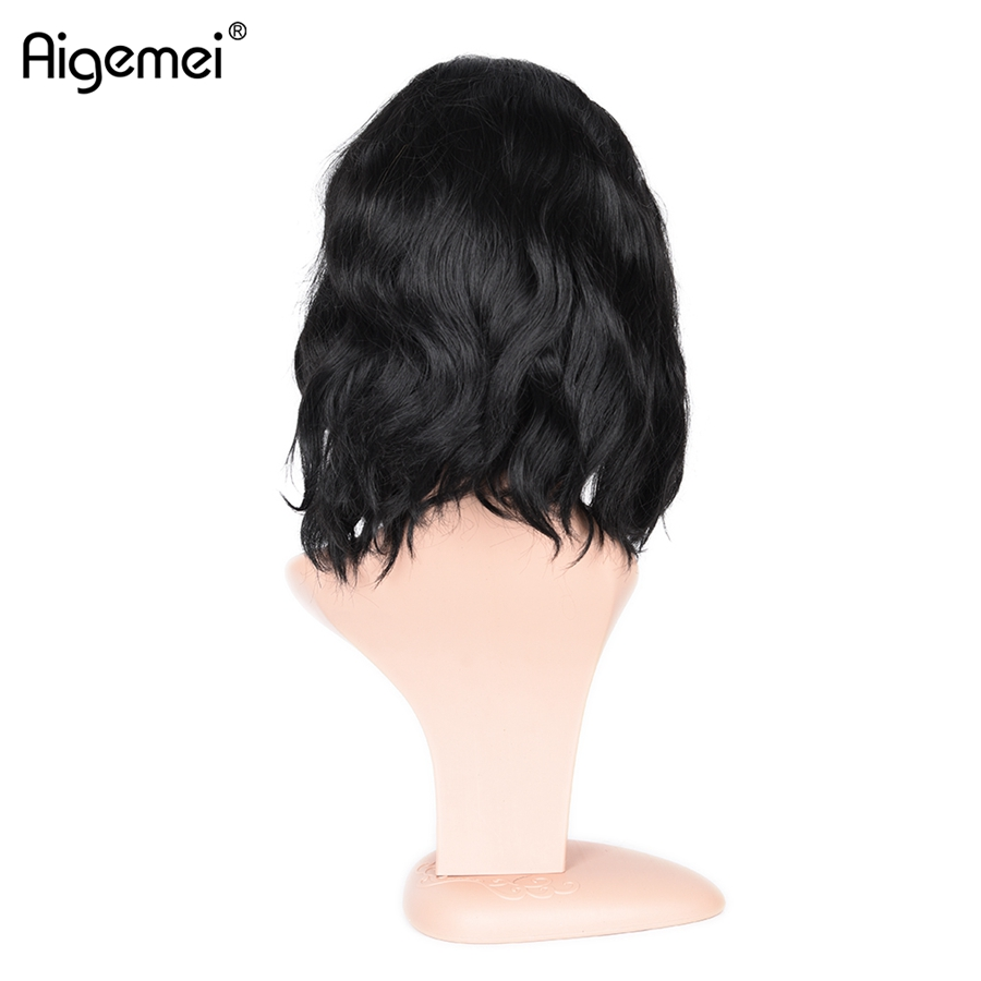 Aigemei Hair Products Short Wavy Synthetic Wigs High Temperature Fiber Bobo Afro Wig for Women in Synthetic None Lace Wigs from Hair Extensions Wigs