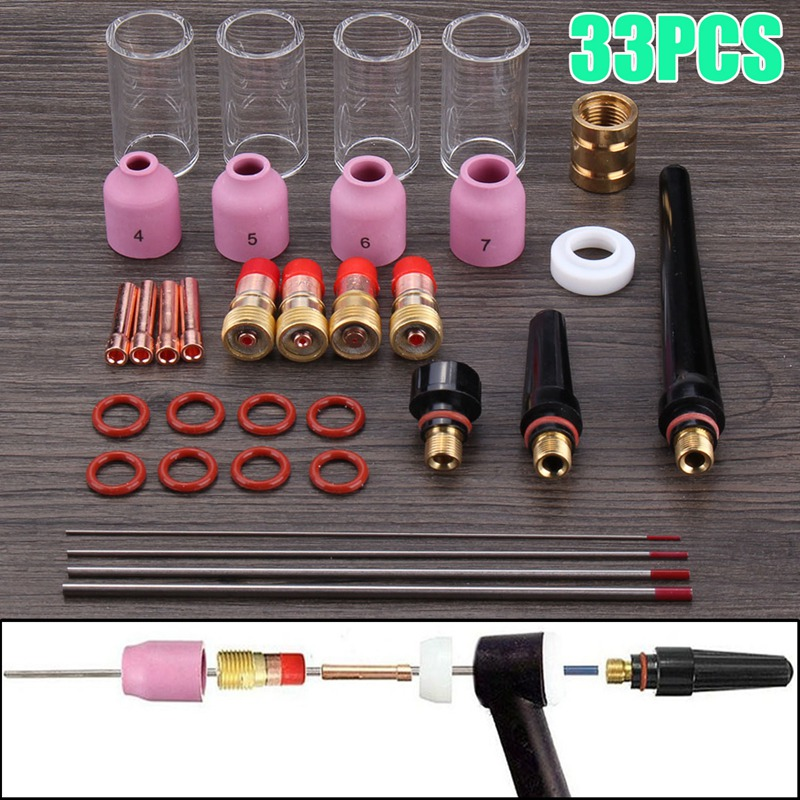 33 Pcs New Torch Accessories 1.0mm+1.6mm+2.4m+3.2mm TIG Welding Torch Stubby Gas Lens Glass Nozzle Cup Kit For WP17/18/2