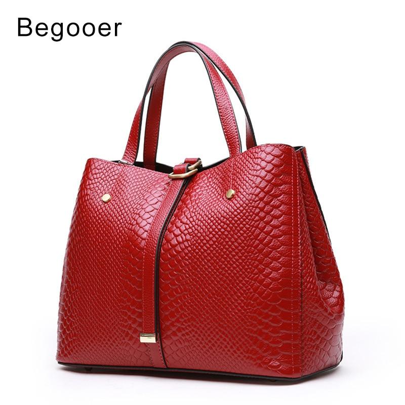 BEGOOER Genuine Leather Handbag For women Cow Leather Serpentine Embossed Shoulder Bag Famous Brand Women Bag