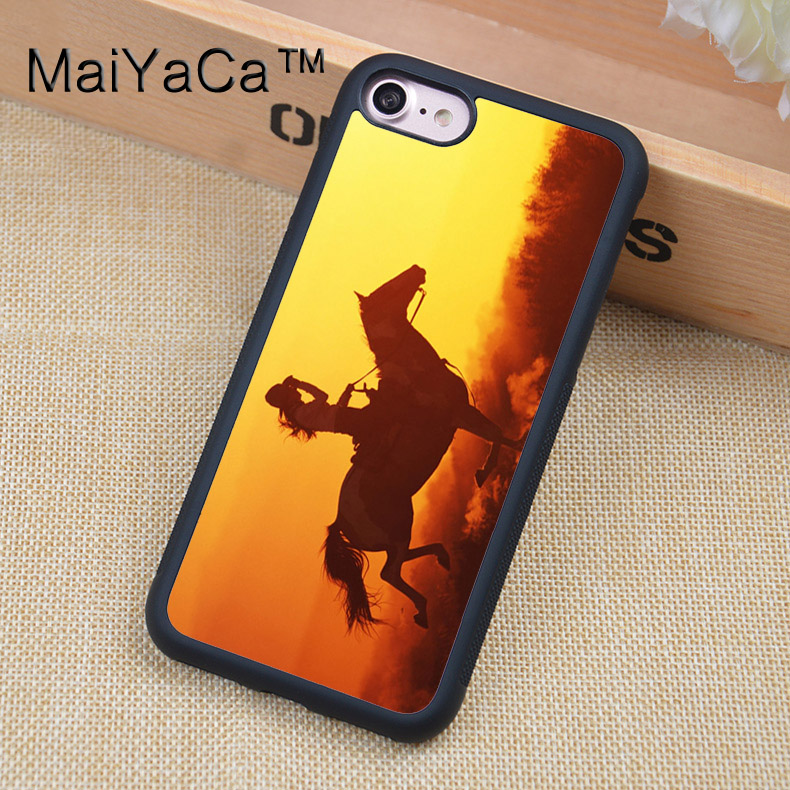 MaiYaCa Cowgirl Horse Sunset Mobile Phone case For iPhone 6 6s Soft TPU Full Protective Cover For iPhone 6 6s Cases Coque