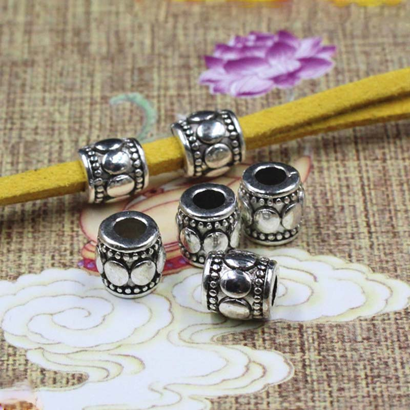 100pcs Tibetan Alloy Barrel Metal Beads Decorative Loose Spacer Antique Gold 6mm