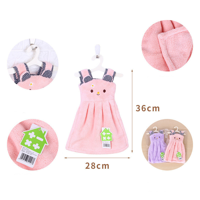 1PC Dress Hand Towel For Kids Chidren Microfiber Absorbent Hand Dry Towel Kitchen Bathroom Soft Plush Dishcloths