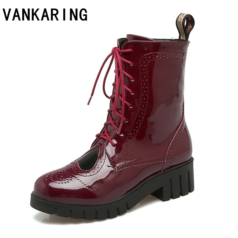 VANKARING fashion black/white/red platform boots retro cut-outs chunky heels patent leather ankle boots high heels riding boots цены онлайн