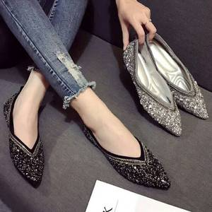 Image 2 - SWYIVY Womants Flats Shoes Rhinestone Autumn Spring New Female Luxury Crystal Casual Shoes Pointed Toe Comfortable Flats 40 Size