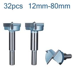 32pcs12mm-80mm puntas de brocas de taladro Forstner Juego de Herramientas de carpintería cortador de sierra perforadora de bisagra con mango redondo de carburo de tungsteno