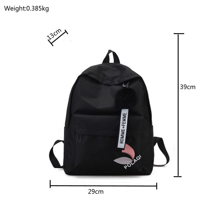 e0ff190a44 Fashion fur ball girl backpack for women 2018 teenage schoolbag College  High school student nylon printing back pack bag pink -in Backpacks from  Luggage ...