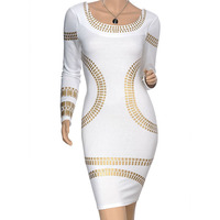 Hot High Quality White Pnom Penh Knitting Dress Long Sleeve Evening Party Dress Size XS XXL