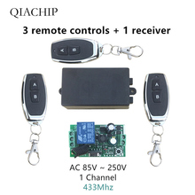 433Mhz Universal Wireless Remote Control Switch AC 110V 220V 1 Channel Relay Receiver Module and 3pcs RF 433 Mhz Remote Controls vgg24 220v 2 channel remote switch module 2 key remote control green