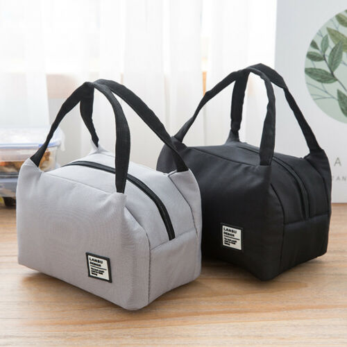 Portable Thermal Lunch Bag Canvas Solid Insulated Cooler Bags Picnic Lunch Bags Messenger Bags Ladies Handbag
