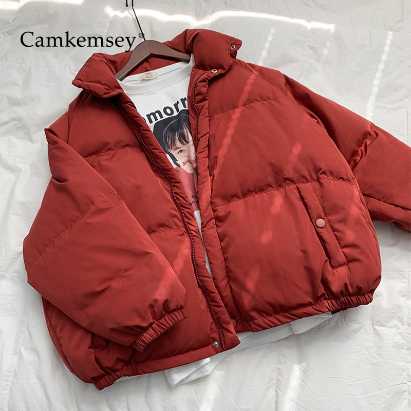 CamKemsey 2018 New Winter Down Jackets Women Casual Stand Collar Thick Warm Down Cotton Padded Winter   Parkas   Coats