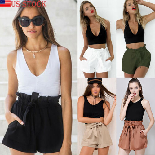 Women Summer Beach High Waist Shorts Stylish Ruffles Drawstring Loose Tie Belt Casual Solid Holiday Cotton Elastic Hot Shorts
