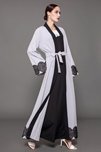 Elegant Muslim Abaya Lace Cardigan Maxi Dress Embroidery Tunic Thobe Islamic Clothing Middle East Long Robe Gowns Kimono Jubah