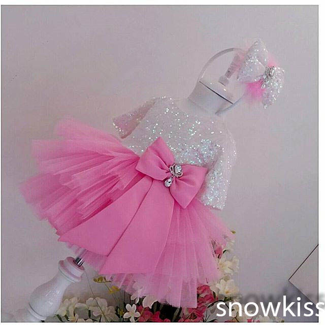 Stunning Bling white Sequins hot pink flower girl dresses ball gown kids baby Birthday Party evening Dress with sleeves and bow